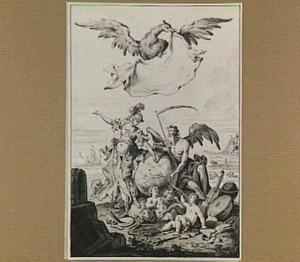 Allegorie van de zeven vrije kunsten? (ontwerp voor een titelprent?)