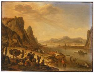 Rijnlandschap met vissers en boeren bij een aanlegplaats