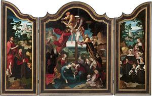 De H. Johannes de Doper met de stichter en zijn zoon (linkerluik), de kruisafneming (middenpaneel), Maria met de stichtster en haar dochters (rechterluik); op de buitenzijde van de luiken: twee engeltjes met wapenschilden