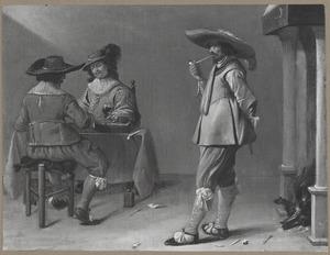 Drie rokende, drinkende en triktrakspelende mannen in een interieur