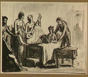 Musicerend gezelschap rond een tafel