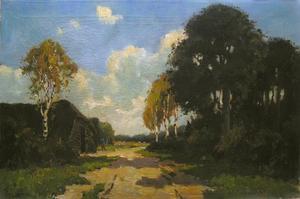 Boerderij aan een landweg met bomen