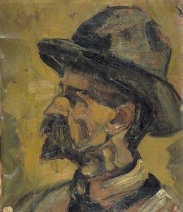 Portret van een man met hoed (Christian Leibbrandt?)