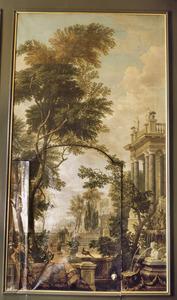 Parklandschap met fontein en op de achtergrond een gezicht op een mediterraan landschap