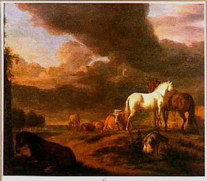 Drie paarden in een landschap met vee
