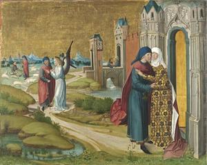 Het leven van Maria: Joachim ontmoet Anna aan de Gouden Poort; in de achtergrond de Annunciati van de geboorte van Maria aan de herder Joachim door een engel (achterzijde: bovenste helft van de Kruisiging van Christus)