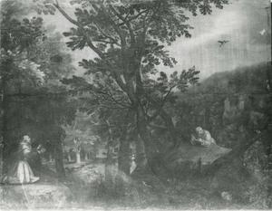 Boslandschap met Sint-Franciscus van Assisi
