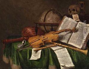 Stilleven met boeken, viool, strijkstok luit en vanitassymbolen
