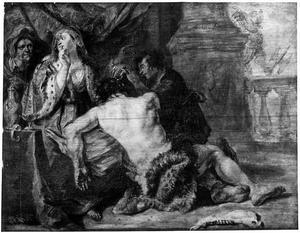 Simson slapend in Delila's schoot worden de haren afgeknipt (Richteren 16:19)