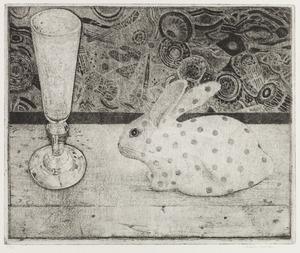 Stilleven met glas en konijn