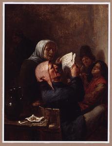 Een man en een vrouw zingend in een herberg