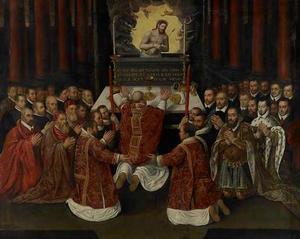 De Mis van Gregorius in het bijzijn van wereldlijke machthebbers, vermoedelijk leden van de Liga van Kamerijk