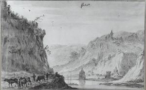 Gezicht op Kaub met de burcht Gutenfels en die Pfalz