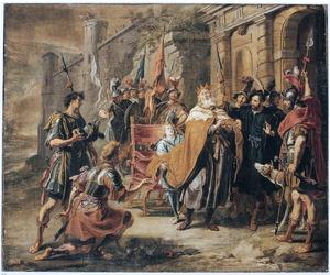 David verneemt de dood van Uria, de man van Batseba  van de bode van Joab (2 Samuel 11:22-25)