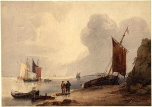 Rustige zee bij een Engelse kust
