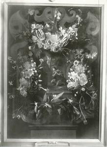 Cartouche met bloemguirlandes rondom een voorstelling van St. Goswinus