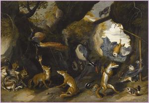 Landschap met verschillende afbeeldingen van episoden uit de fabel 'Van den vos Reynaerde'