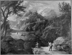 Berglandschap met burgruïne en vissers