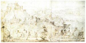 Gezicht op Salzburg vanaf de kant van de Nonnberg (verso: Praagse Burcht)