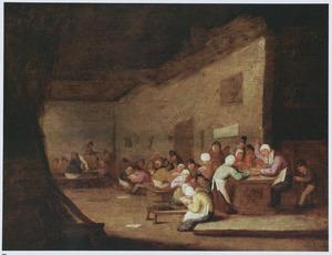 Klaslokaal waarin de schooljuffrouw op de hand van een kind slaat