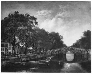 Gezicht op de Herengracht in Amsterdam ter hoogte van de Huidenstraat met de houthandel van Cornelis  Jansz. Kerfbijl