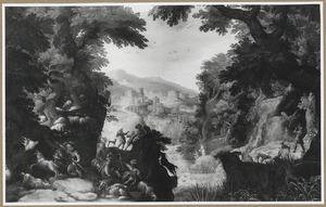 Boslandschap met jagers; op de achtergrond een stad naast een rivier