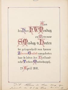 Album Amicorum Hendrik Willem en Sientje Mesdag