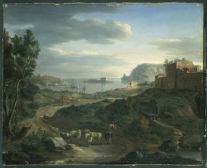 Gezicht op de kust buiten Rome