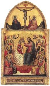 Kroning van Maria tussen acht heiligen en acht engelen (onderste deel), de kruisiging (bovenste deel)