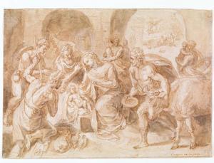 Aanbidding der herders; in de achtergrond de verkondiging aan de herders