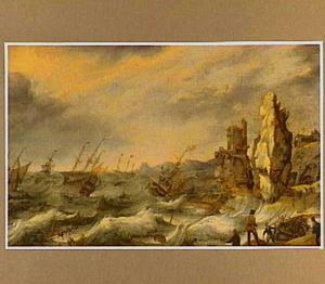 Schepen in nood voor een rotsachtige kust