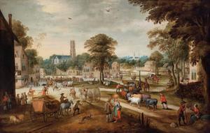 Dorpsgezicht met dorpsbewoners, handelaars en boeren