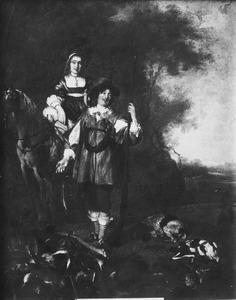 Dubbelportret van een  man en van een vrouw te paard
