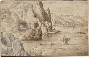 Kustlandschap met H. Christoffel de wereldbol dragend