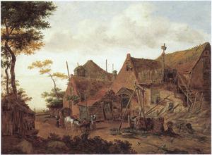 Landschap met een huifkar voor een herberg