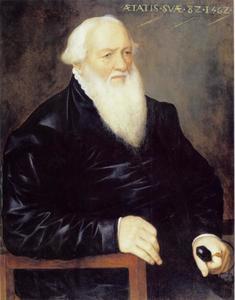 Portret van een zittende 82-jarige man