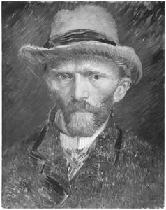 Zelfportret met grijzen vilten hoed: buste, en face