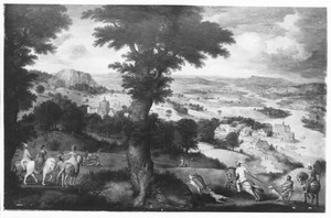 Landschap met hertenjacht