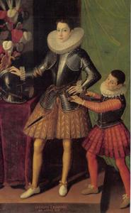 Portret van Giuliano II Cesarini (1572-1613), duca di Civitanova Marche en marchese di Civita Lavinia, op 14-jarige leeftijd met zijn page