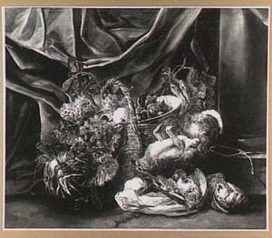 Stilleven van vruchten in een mand, een haas en twee patrijzen