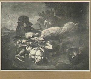 Twee honden bij een jachtbuit van hert, everzwijn en gevogelte in een landschap