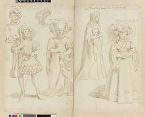 Studie van Roland van Uutkerke, Philippe de Baux, Françoise de Baux en drie edelvrouwen