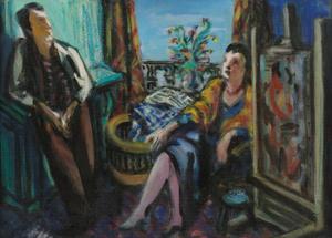 Man en vrouw in interieur bij schildersezel