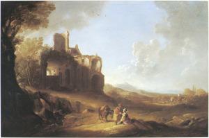 Zuidelijk landschap met Juda en Tamar, die zich voordoet als lichte vrouw (Genesis 38:13-19)