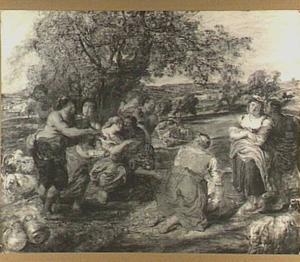 Herders en herderinnen in een landschap