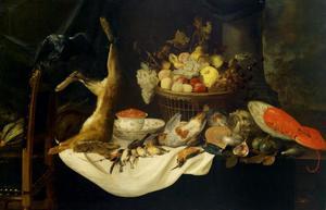 Stilleven met gevogelte als jachtbuit, dode haas, vruchten, schelpen en een kreeft op een Chinese porseleinen schaal