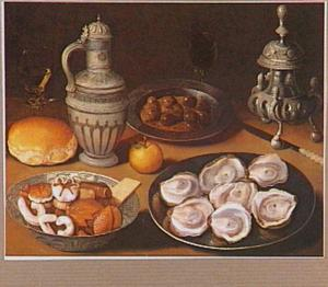Stilleven met oesters, kruik en zoutvat
