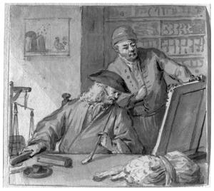 Portret van twee mannen, mogelijk Aert Schouman (1710-1792) en Cornelis van Lil (?-1743)