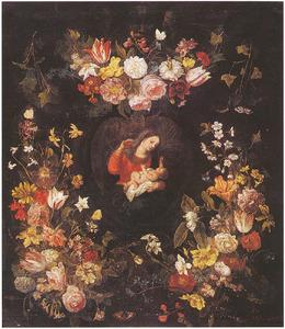 Maria met kind omringt door bloemguirlandes