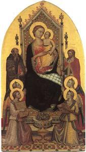 Tronende Madonna met engelen, de H. Antonius Abt en een heilige ridder